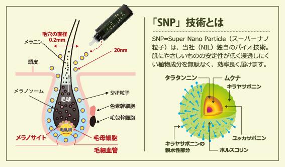 独自の浸透技術「スーパーナノ粒子(SNP)」で頭皮奥まで届ける