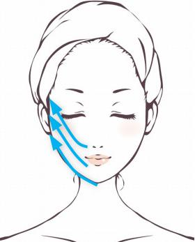 「セルキュア4Tプラス」のポレーションモードでフェイスラインを引き締め口角とほうれい線のたるみをケアする手順。