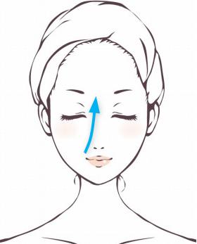 「セルキュア4Tプラス」のポレーションモードで鼻筋をケアする手順。